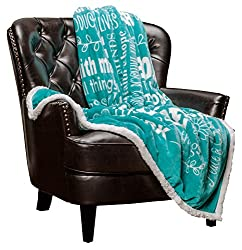 teal inspirational blanket on chair, faith gifts