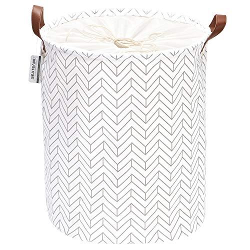 Sea Team Pfeilmuster Wäschekorb Leinwand Stoff Wäschekorb Faltbarer Vorratsbehälter mit PU-Ledergriffen und Kordelzugverschluss, 17,7 x 13,8 Zoll, wasserdicht innen, grau