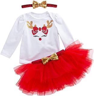 bd02f72672afe YuanDiann Bébé Fille 3 Pcs Déguisement Noël Vêtement de Baptême Robe  Nouveau Né Habit De Noel