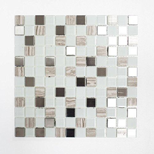 Mosaik Fliese selbstklebend Transluzent Stein Edelstahl weiß Glasmosaik Crystal Stein Stahl weiß Glas für WAND KÜCHE FLIESENSPIEGEL THEKENVERKLEIDUNG Mosaikmatte Mosaikplatte