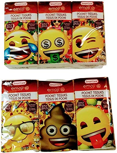 SmartCare Emoji Travel Size Pocket Facial Tissues Bundle - 2020 Pandemic Care Items Make Great Stocking Stuffers!