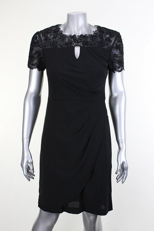 Alex Evenings Petite Black MeshTop Beaded Dress4P Msrp