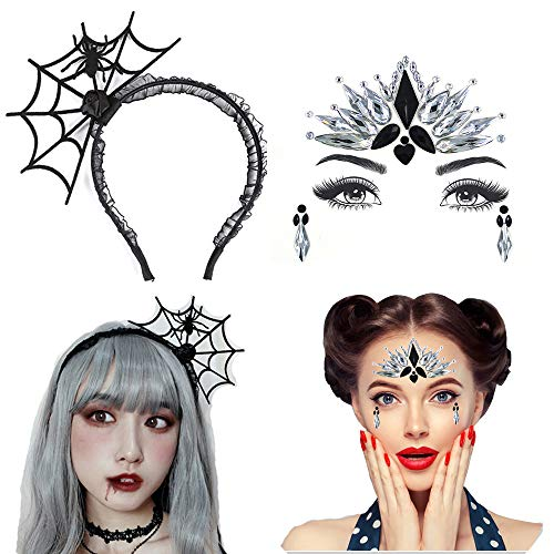 Hallowen Cosplay Spider Web Hairband Hair Hoop with Face Jewels Stickers Shiny Temporary