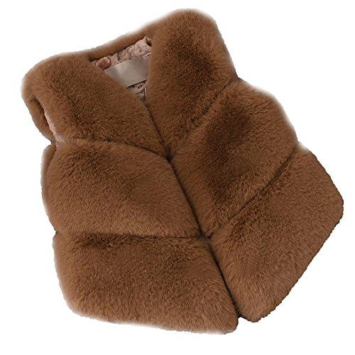 FOLOBE Los niños de otoño e Invierno Faux Fur Chalecos Los nuevos Cabritos imitación Fox Pelo Gilets Abrigos para Las niñas y los niños