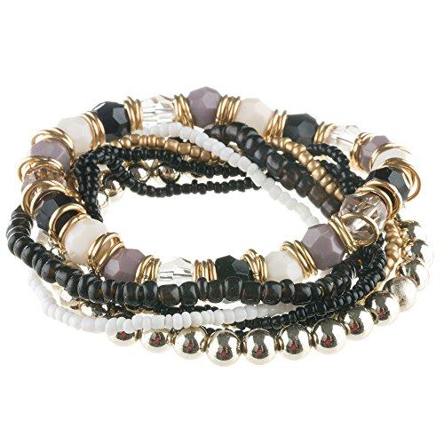 Mianova Mode Damen Armband Armreif 7teilig Elastisch Gummizug Bettel Armband Armreif Schwarz