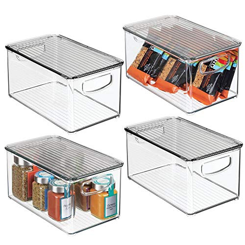 mDesign Plastic Stackable Kitchen Pantry Cabinet, Refrigerator, Freezer Food Storage Box with Handles, Lid - Organization for Fruit, Jars, Snacks, Pasta - 10' Long, 4 Pack - Clear/Smoke Gray