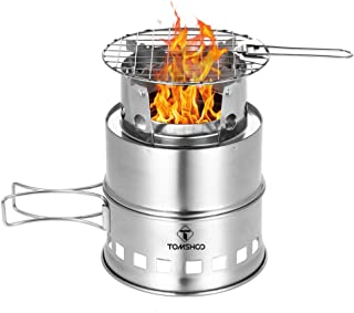 Camping Stove Camp Wood Stove Portable Foldable Stainless Steel Burning Backpacking Stove for Outdoor Hiking Picnic BBQ-Upgraded Version