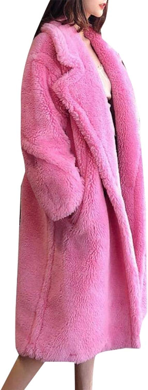 Esast Women's Fuzzy Fleece Lapel Long Cardigan Outwear Jackets Warm Faux Fur