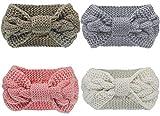Pacrate Stirnband Damen Winter Warmes Knoten Gestrickte Stirnbänder Elastisches Frauen Haarband Mädchen Haarbänder Kinder Gestrickt mit Ohrenschutz