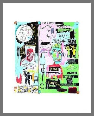 Germanposters Jean-Michel Basquiat In Italian 1983 Poster Kunstdruck Bild im Alu Rahmen in Champagne 42x34cm