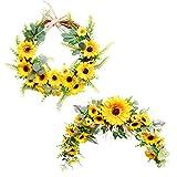 æ— 2 guirnaldas artificiales de girasol y corona, guirnaldas decorativas con girasoles, guirnaldas florales para puerta delantera para espejo de mesa, decoración de arco de boda