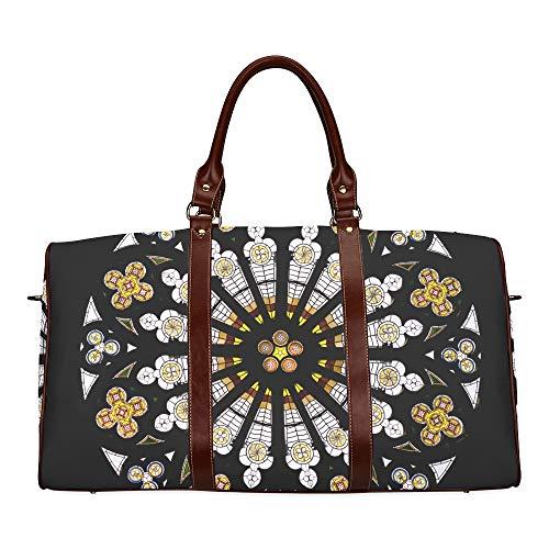 Picnic Tote Bag Romantic Splice Glass Floral Waterproof Microfiber Leather Carryon Bag Basic Travel Bag Best Duffel Bag For Women Backpack Handbag Weekend Bag For Boys