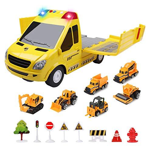 Jenilily Spielzeug Matchbox Auto Set, baustellenfahrzeuge Kinder mit Sirene und Blinklicht kinderspielzeug Jungen ab 3 4 5 Jahre