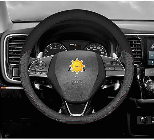 Roki-X per Mitsubishi Suede in Pelle di Mucca per Auto Volante Volante Fit ASX L200 Carisma Outlander Pajero Lancer Space Evo (Size : Suede Perforated Black)