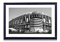 サンティアゴベルナベウスタジアム -世界 -#7482 - 白黒の絵画 装飾画 壁飾り アートパネル インテリアアート 木製の枠 壁ポスター モダン 現代壁の絵 額縁付きの完成品 横 35×50cm