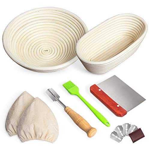 RORECAY Bread Banneton Proofing Basket Set of 2, 9 Inch Round & 10 Inch Oval Cane Sourdough Baskets with Bread Lame + Dough Scraper + Linen Liner + Basting Brush for Bread Making Baking Fermentation