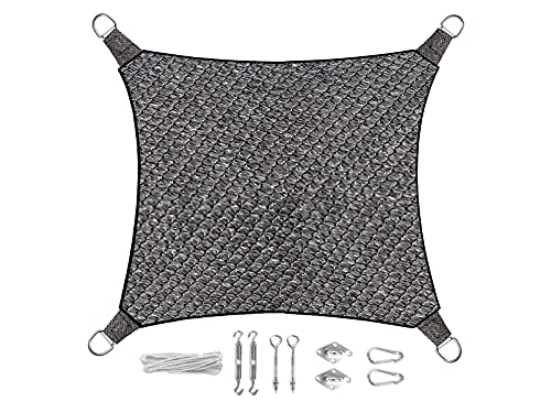 Voile d'ombrage carré 5 x 5 m - Couleur : gris foncé - Avec kit de fixation - Protection solaire pour votre jardin.