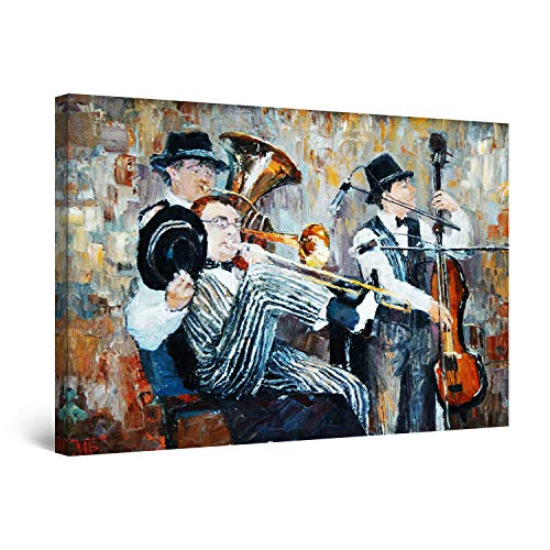 Startonight Cuadro Moderno en Lienzo - Orquesta de Jazz - Pintura Abstracta para Salon Decoración Grande 80 x 120 cm