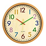 VREAONE Silent Kids Wall Clock,12 Inch Non Ticking Quartz Battery Operated Colorful Decorative Clock for Children Nursery Room Bedroom School Classroom (Yellow)