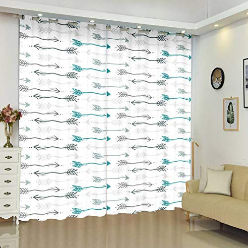 """Qoalips Gray Blackout Curtains, Cute Retro Arrow Grey Teal and White Arrows Transparent Soundproof Window Curtains for Bedroom Living Room Window Drapes 2 Panel Set 108"""" W x 80"""" L"""