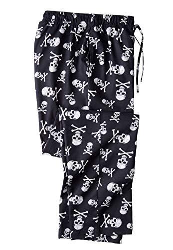 KingSize Men's Big & Tall Flannel Novelty Pajama Pants - Tall - L, Skulls Pajama Bottoms