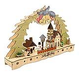 Krippenhandel Weihnachtsdekoration Schwibbogen Holz Weihnachtsdorf mit LED-Beleuchtung inkl. Anschlusskabel zur
