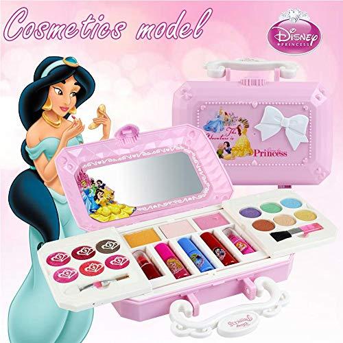 Kitabetty Juguete De Maquillaje, 23 Piezas De Princesa Disney, Kit De Maquillaje Para Niñas Con Espejo Lavable Y No Tóxico | Maquillaje Princesa Real Con Estuche | Regalo Ideal Para Niños.