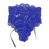 Bravetoshop Womens Sexy Lace Panties High Waist Underwear Briefs Cheeky Boyshort Panty (Blue,XXXL)