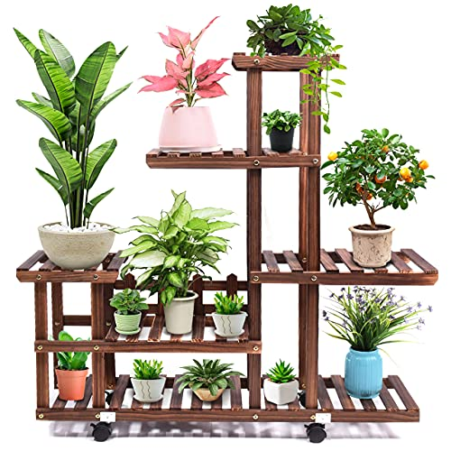 cfmour Wood Plant Stand Indoor Outdoor, Wooden Plant Display Multi Tier Flower Shelves Stands, Garden Plant Shelf Rack Holder Organizer in Corner Living Room Balcony Patio Yard (11-13 Flowerpots)