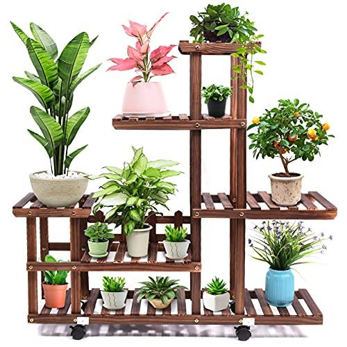 cfmour Wood Plant Stand Indoor Outdoor, Wooden Plant Display Multi Tier Flower...