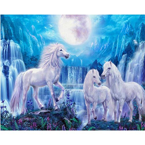 Papel pintado de moda personalizado cielo azul cascada caballo Luna Fondo de habitación para niños papel de pared papel tapiz 3d Mural