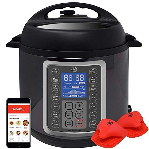 Mealthy MultiPot 9-in-1 Programmable Pressure Cooker 8 Quart with Stainless Steel Pot, Steamer Basket, instant access to recipe App. Pressure Cook, Slow Cook, Sauté, Egg, Hot Pot, Rice Cooker, Yogurt