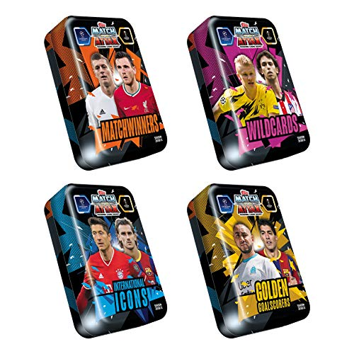 Match Attax 2020-21 Topps Champions League Cards - Mega Tin 4-Pack (Golden Goal Scorers, Wildcards, International Icons & Matchwinners) (Each Includes 50 Cards, 15 Exclusive Cards + LE Gold Card)