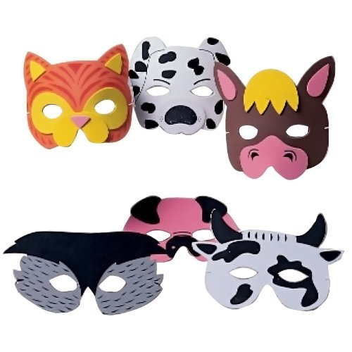US Toy - Farm Animal Masks  Assorted Colors  7  W  (1-Pack of 12)