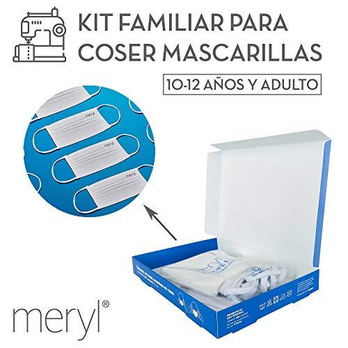 Kit para coser mascarillas Meryl Skinlife® Force de 100 usos. 5 unidades reutilizables (3 de niño de 10 a 12 años y 2 de adulto)