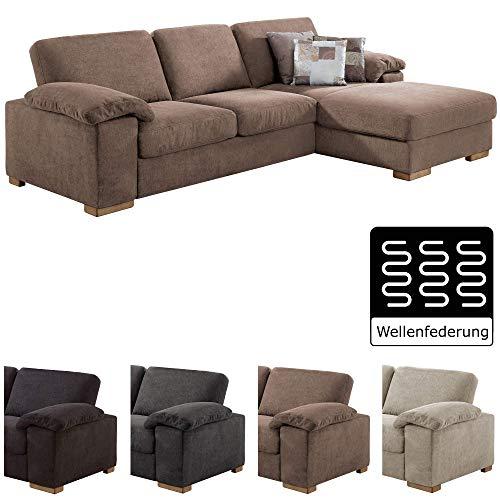 Cavadore Ventere Ecksofa mit Longchair und Wellenunterfederung / Großes Sofa im modernen Design / Größe: 277 x 86 x 172 cm (BxHxT) / Farbe: Hellbraun