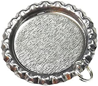 50 Flat Bottle Cap Pendants with Holes and Split Rings Attached - Silver Flattened Bottlecaps for Photo Pendants