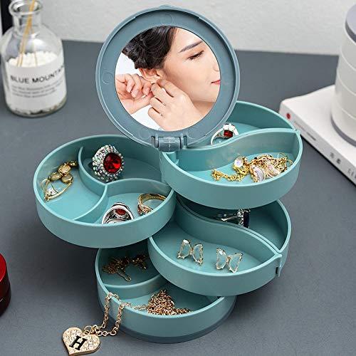 Caja de almacenamiento de joyería Multicapa giratoria de plástico Soporte de joyería Pendientes Caja de anillo Cosméticos Organizador de contenedores de belleza con espejo