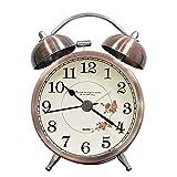 lunaoo Despertador Analogico Silencioso Sin Tictac, Reloj Despertador Vintage Retro con Luz, 3' Alarma Despertador de Doble Campana Fuerte Sonido
