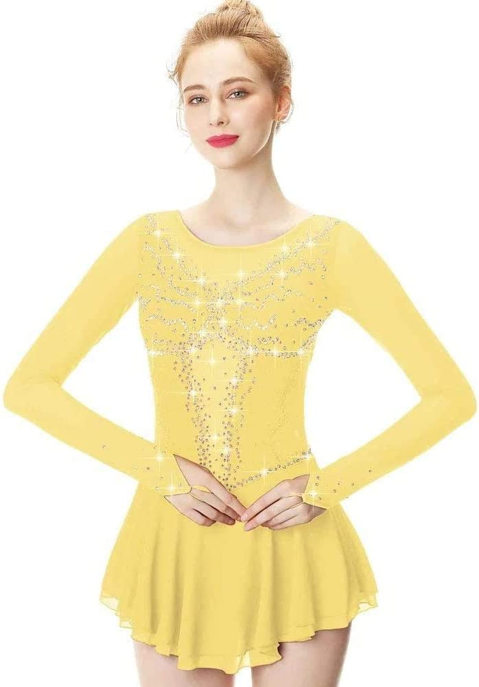 Competition Figure Skating Dress Women's Sleeve Girls Max 78% OFF Dan Length Limited time sale