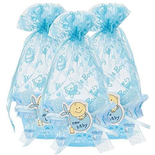 QILICZ Cesta de regalo para bebé, bautizo con bolsa de organza y botella, color azul, 12 unidades