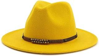 Fashion Hats, Caps,Elegant Hats, Natural Caps Men Women Fedora Hat with Belt Wide Brim Hat Winter Hat Pop Jazz Hat (Color : Yellow, Size : 56-58)