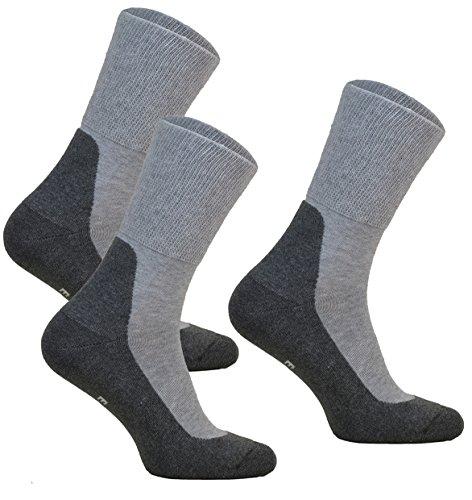 3paar ohne Kompression Baumwollsocken MEDIC DEO COTTON für Diabetiker Damen und Herren Antibakteriale Gesundheits Socken (Grau, 3 paar: 47-49)