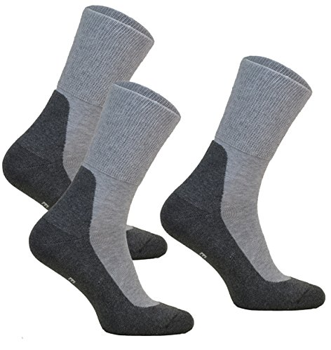 3-pairs of Extra Wide Diabetic Socks MEDIC DEO COTTON for Swollen Legs Mens & Womens non-compression Antibacterial (GREY, 3pairs: 9-11 UK / 44-46 EU)