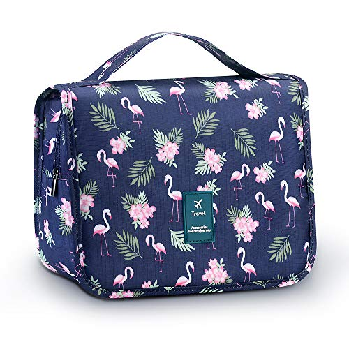 Travel Toiletry Bag, Large Capacity Bathroom Cosmetic Storage Hanging Wash Bag Organizer Flamingo Pattern Design Makeup Pouch Bags for Women Girls