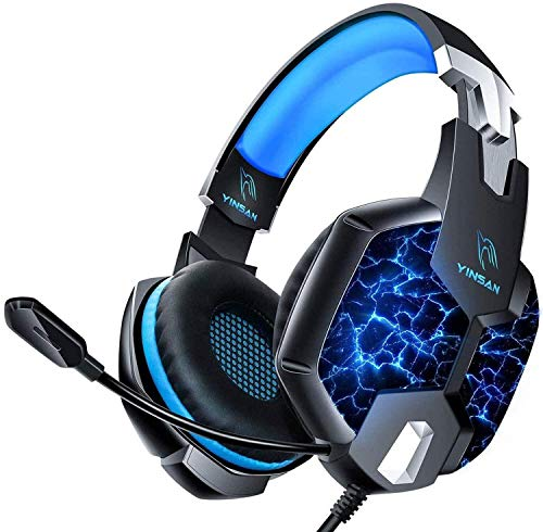 Auriculares Gaming PS4, YINSAN Cascos Gaming Premium Estéreo con Micrófono, 7 Luces LED y Orejeras de Memoria Suave, Gaming Headset con Control de Volumen para PC/Xbox One/Nintendo Switch/Móvil/Mac