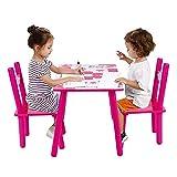 Kindertisch mit Stühle, 3tlg Kindersitzgruppe Kindertisch mit Stühle Holz Sitzgruppe für Kinder Mädchen und Jungen Kindermöbel Set
