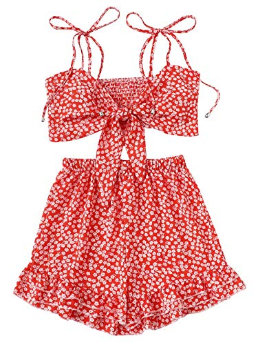 SweatyRocks Women's 2 Piece Spaghetti Strap Knot Front Crop Cami Top with Shorts Set Red L