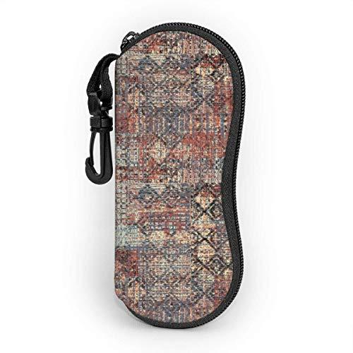 Hdadwy Gafas de sol Estuche blando Neopreno ultraligero Patrón sin costuras Diseño étnico. Fondo Navajo con Tribales Tribales Estuche para Lentes con Cremallera y Clip para Cinturón