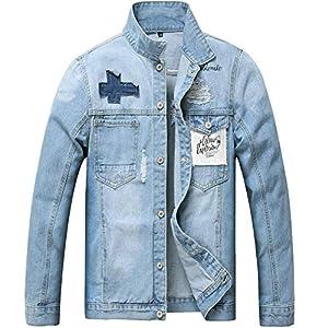 Men's Denim Jacket, Classic Ripped Slim Jean Coat Jacket with Holes
